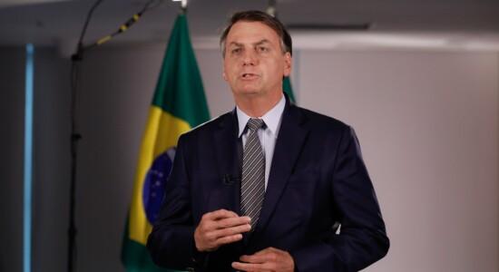 Presidente Jair Bolsonaro durante pronunciamento em rede nacional