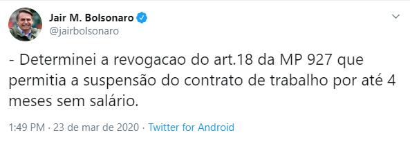 Resultado de imagem para Bolsonaro revoga trecho de MP que previa suspensão de contratos de trabalho por 4 meses
