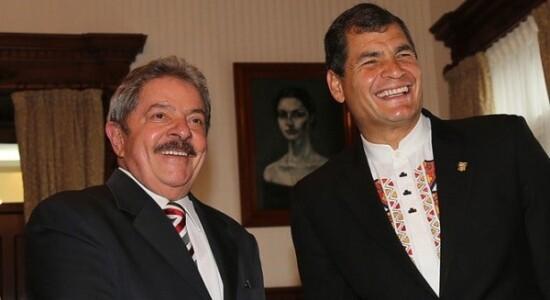 Lula ao lado de Rafael Correa
